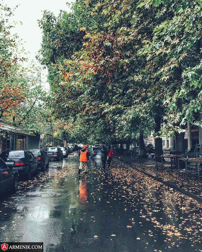 Wet Autumn Yerevan Armenia