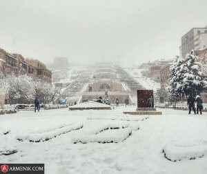 Yerevan Cascade Winter Day
