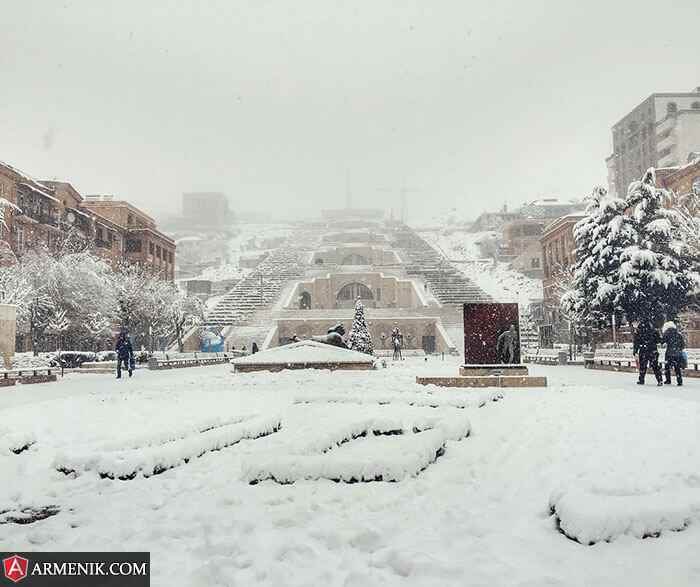 Yerevan Cascade Winter Day